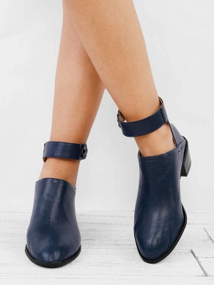 Women Chunky Heel Daily Zipper Round Toe Boots_12