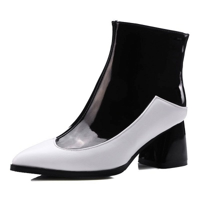 Chunky Heel Zipper Daily Elegant Pointed Toe Boots_7