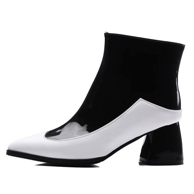 Chunky Heel Zipper Daily Elegant Pointed Toe Boots_1