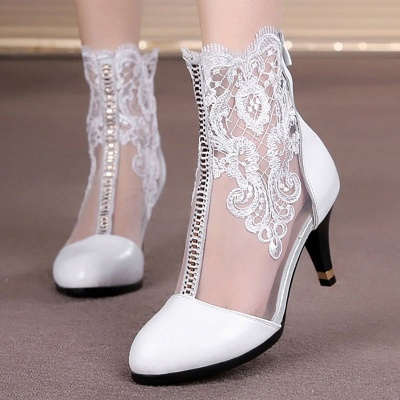 Dress All Season Stitching Lace Mesh Stiletto Heel Boot_1