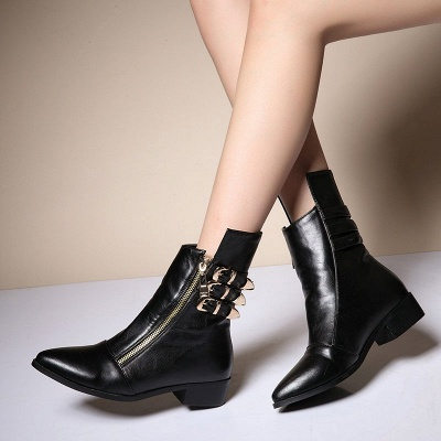 PU Chunky Heel Zipper Pointed Toe Casual Boots_5