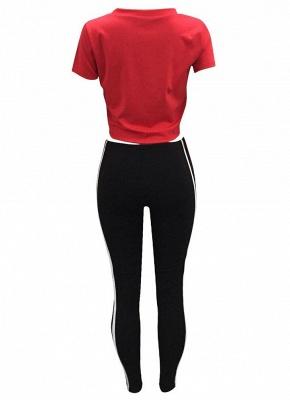 Letter Print Side Striped Sportswear Tracksuits_6
