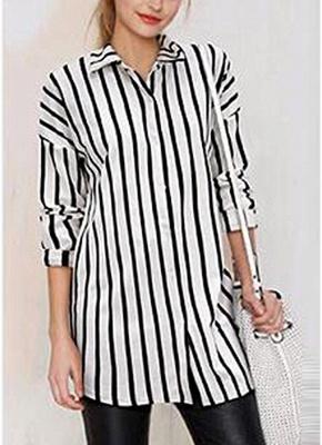 Striped Turn-down Collar Long Sleeve Long Shirt_1