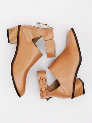 Women Chunky Heel Daily Zipper Round Toe Boots_25