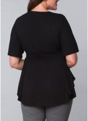 Plus Size Wrap Ruched Flare Draped Asymmetrical Hem Blouses_4