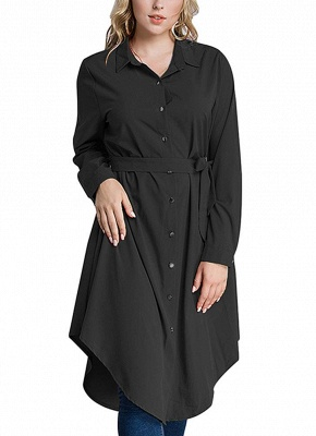 Women Long Sleeve Irregular Hem Belted Solid Tunic Plus Size Shirt_3