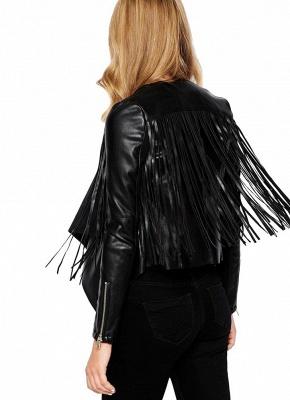 Women PU Leather Long Sleeve Tassel Fringe Jacket_4