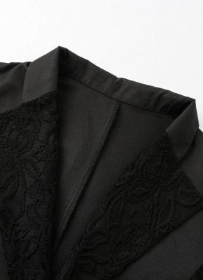 Autumn Women Jacket Lace Splicing Slim Suit One Button Casual Coat Blazer_6