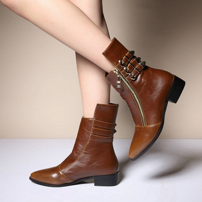PU Chunky Heel Zipper Pointed Toe Casual Boots_9