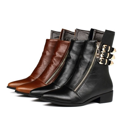PU Chunky Heel Zipper Pointed Toe Casual Boots_10