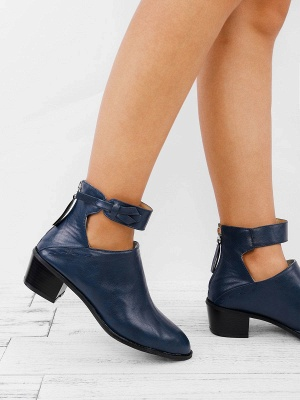Women Chunky Heel Daily Zipper Round Toe Boots_13