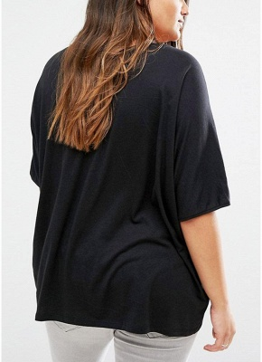 Plus Size Scoop Neck Short Sleeves Asymmetric Hem T-Shirt_4