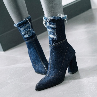 Denim Daily Zipper Chunky Heel Pointed Toe Boots_6
