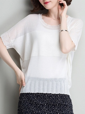 Shift Daytime Casual Ice Yarn Knitted Batwing Sweaters_1