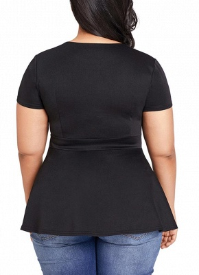 Plus Size Hollow Out Ruffle Hem Short Sleeves O-Neck Blouse_5