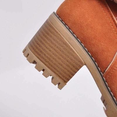 Nubuck Chunky Heel Slip-On Round Toe Boots_21