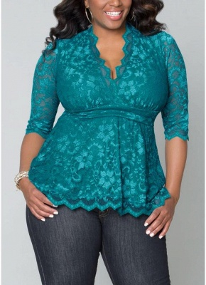 Plus Size 3/4 Sleeves Lace Blouse Top_2