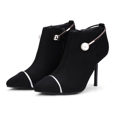 Zipper Date Stiletto Heel Elegant Pointed Toe Boots_2
