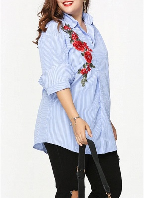 Plus Size Striped Floral Embroidery Long Sleeve Casual Loose Blouse_4