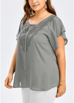 Women Plus Size Solid Blouse V Neck Crochet Lace Shirt Top_5