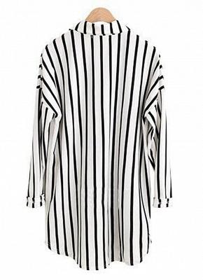 Striped Turn-down Collar Long Sleeve Long Shirt_5
