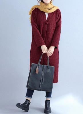 Winter Women V-Neck Long Coat Pockets Warm Jacket Cardigan Outerwear Overcoat_1