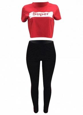 Letter Print Side Striped Sportswear Tracksuits_4
