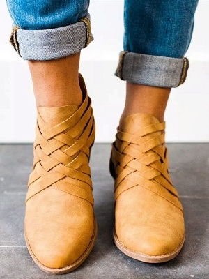 Low Heel Hollow-out PU Casual Zipper Boots_8