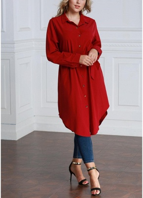 Women Long Sleeve Irregular Hem Belted Solid Tunic Plus Size Shirt_8