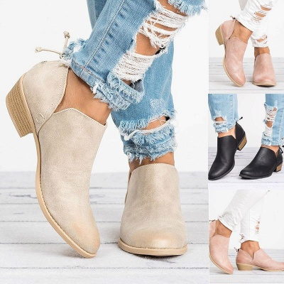 Women Pu zipper Casual Daily  Chunky Boots_13