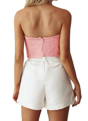 Suede Cropped Bow Front Sleeveless Back Zipper Crop Tube Top_4