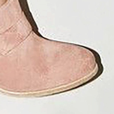 Casual Suede Chunky Heel Slip-On Boots_9