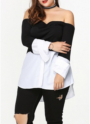 Sexy Women Plus Size Blouse Off Shoulder Contrast Color Long Sleeve Asymmetric Loose Shirt Tops Black_3