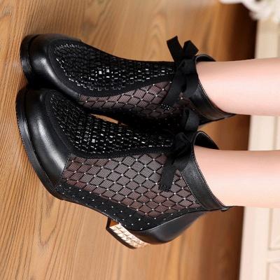 Black Chunky Heel Bowknot Casual Mesh Boots_10