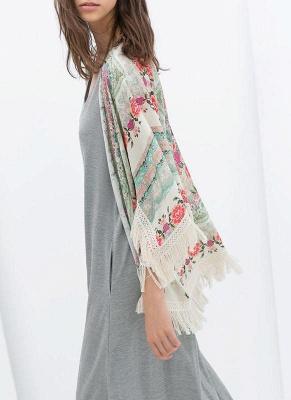 Boho Floral Print Fringe Shaw Chiffon Kimono_3