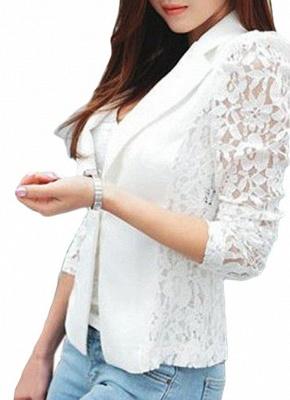 Autumn Women Jacket Lace Splicing Slim Suit One Button Casual Coat Blazer_1