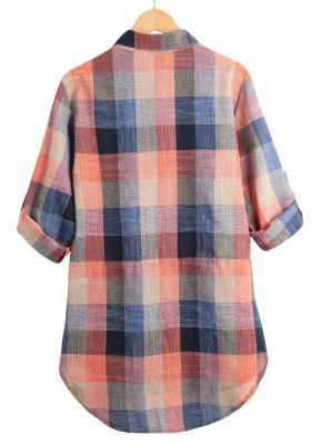 Plaid Rolled Sleeve Irregular Hem Button Plus Size Long Shirt_6