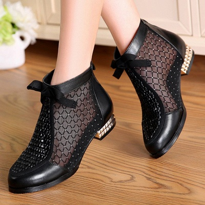 Black Chunky Heel Bowknot Casual Mesh Boots_1