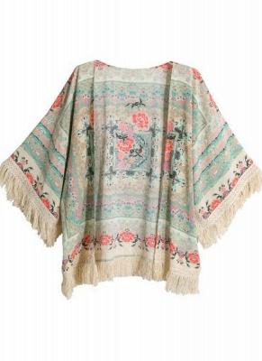Boho Floral Print Fringe Shaw Chiffon Kimono_4