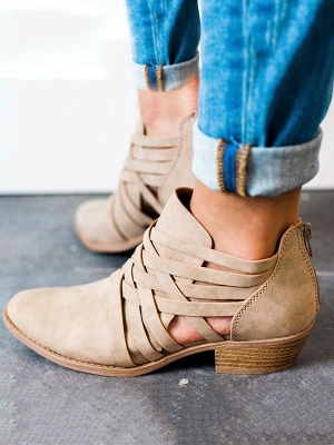 Low Heel Hollow-out PU Casual Zipper Boots_1