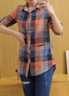 Plaid Rolled Sleeve Irregular Hem Button Plus Size Long Shirt_3