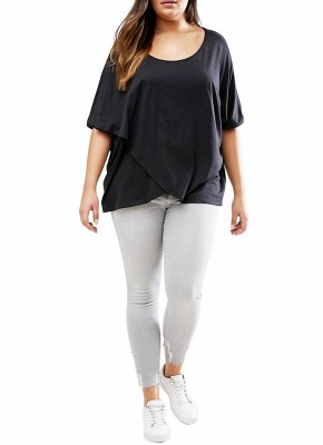 Plus Size Scoop Neck Short Sleeves Asymmetric Hem T-Shirt_1