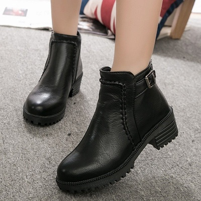 Daily Chunky Heel Zipper Round Toe Buckle Boots_4