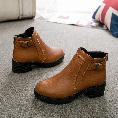 Daily Chunky Heel Zipper Round Toe Buckle Boots_1
