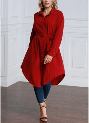 Women Long Sleeve Irregular Hem Belted Solid Tunic Plus Size Shirt_7