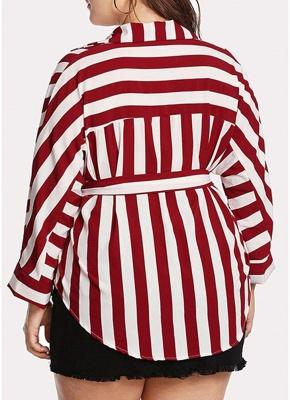 Striped Belt Button Front Long Sleeve Shirt_5