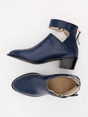 Women Chunky Heel Daily Zipper Round Toe Boots_26