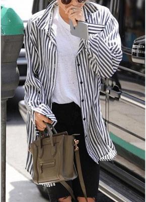 Striped Turn-down Collar Long Sleeve Long Shirt_2