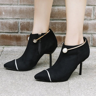 Zipper Date Stiletto Heel Elegant Pointed Toe Boots_5