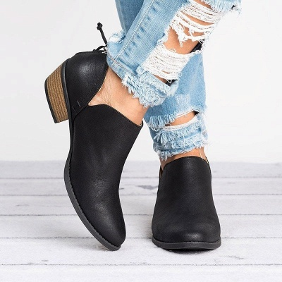 Women Pu zipper Casual Daily  Chunky Boots_11